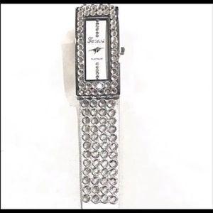 Geneva Platinum Rhinestones Snap Watch